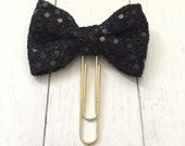 Black Sequin Bow (jumbo gold paperclip)