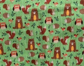 Flannel pants pajama dorm lounge made to order your choice size XS - 2X woodland animals on green grass background