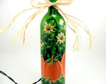 Pumpkin Sunflower Lighted Wine Bottle Hand Painted