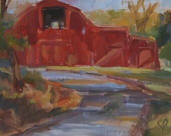 Fall art, Plein Air, Teneessee, barn painting, old barn, Red barn, Landscape, Nashville, Country Farm painting, Original oil