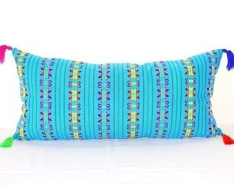 Blue Pillow, Lumbar Pillow 14x28 Inches, Decorative Pillows, Aqua Blue Accent Pillow, Tassels Cushion, Geometric, Tribal, Campagne,