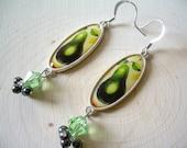 Pear Dangle Earrings ~ Statement Jewelry, Kitchen, Gourmet, Swarvoski Crystal, Pearl, Gift for Her