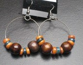 Orange and Green Shell with Wood Beaded Earrings