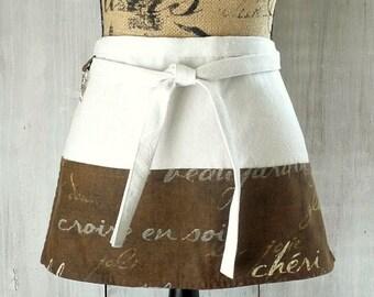 Women's Chocolate Brown Half Apron - French Script Penmanship - Vendor - Garden - Teacher - size regular, extra sizes