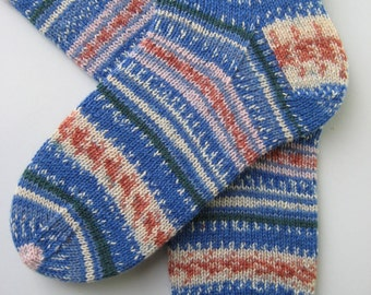 hand knit womens wool socks, UK 6-8 US 8-10, fairisle effect socks, knitted socks, gift for women, made with regia arne and carlos yarn