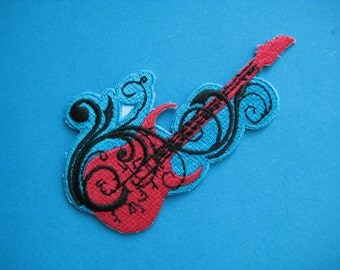 Iron-on Embroidered Patch Guitar 3.5 inch