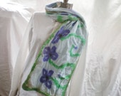 Nuno Felted Scarf, Alpaca and Cotton Gauze, Violet,Green and Brown on Blue Hand dyed