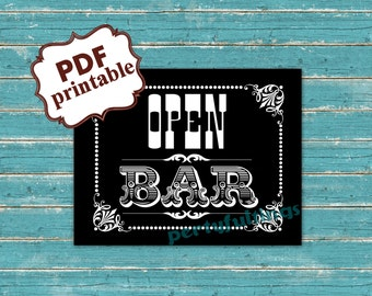 Instant DOWNLOAD--- BLACK--- 8x10 ---Open Bar ---Printable PDF File