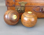 Vintage Lawn Bowls from England - Pair of Lignum Vitae Lawn Bowls - Vintage Bowling Ball
