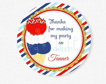 Ice Cream Party Favors, Ice Cream Favor Tags, Girl Birthday, Patriotic Ice Cream Birthday, Red White Blue Tag, Personalized