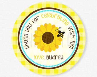 Sunflower Favor Tags, Fall Favor Tag, Flower Gift Tag, Girl Birthday Tag, Sunflower Party Tag, Personalized