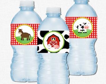 Barnyard Water Bottle Labels, Barnyard Birthday Decorations, Farm Animals Label, Water Bottle Wrap, Personalized
