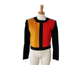 back to school sale // Vintage 80s  Pia Rucci Color Block Cropped Leather Jacket - Women size 6 Small