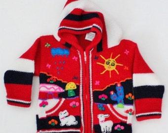 30% off sale // Vintage 80s Llama Red Folk Art Sweater - Kids 2T - Childrens Hooded - Sun Rain Cardigan, Peru