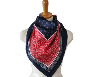 Vintage 70s Large Blue Red White Fashion Scarf - Rope Pattern - Nautical
