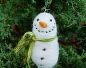 snowman Christmas ornament handmade needle felted wool winter decor