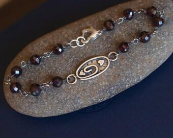 Garnet Heart Link Bracelet