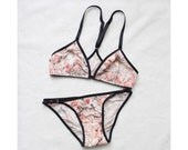 Modern 'Zoe' Floral Lingerie Rose Gold Findings and Black Trim Handmade Lingerie Made to Order in Your Size