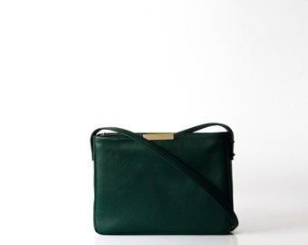 structured leather bag OPELLE Meena Book Bag Slim minimalist leather bag in Emerald