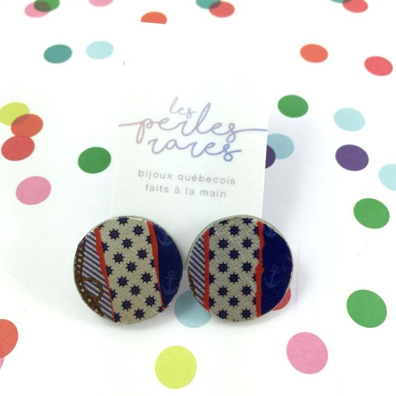 Small, round, resin, mold, navy pattern, blue, red, white, earrings, stainless stud, handmade, les perles rares