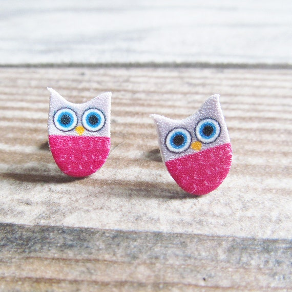 Small, pink, gray, owl, earrings, shrink plastic, stainless stud, handmade, les perles rares