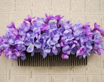 Beautiful big hair comb with lilac flowers vintage rockabilly style wedding 40s 50s fascinator