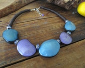 Turquoise Tagua Nut Beads, Violet Tagua Nut Beads,  Blue Rhinestones, Linen Cord, Boho Necklace, Linen Necklace, Tagua Necklace