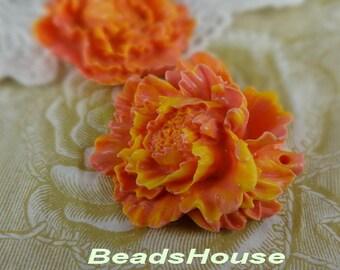 2pcs (674-00)  Large Peony Pendant Cabochon, Orange Hue with Yellow