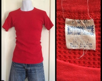 Vintage 1970's soft Thermal HealthKnit Short Sleeve Long Johns Undershirt Shirt size Large t-shirt Waffle Textured Red Color