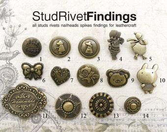 4 sets  antique Brass / brush vintage pattern Spring Snap button