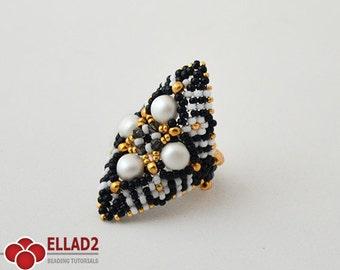 Tutorial Zazu Ring-Beading Tutorial, Beading Pattern,Jewelry tutorial,Ellad2