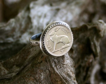 Irish Ireland Celtic Rabbit Bunny Animal Coin Boho Sterling Silver Statement Southwestern Ring