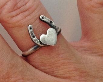 Horseshoe Heart Fine Silver Ring