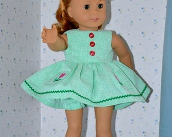 18 Inch Doll Green Sleeveless Dress with Embroidered Tulip Pockets and Matching Panties by SEWSWEETDAISY