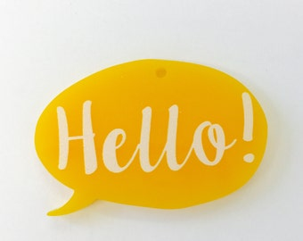 B199 Printed Hello Yellow Charm Pendant **STOCK CLEARANCE**
