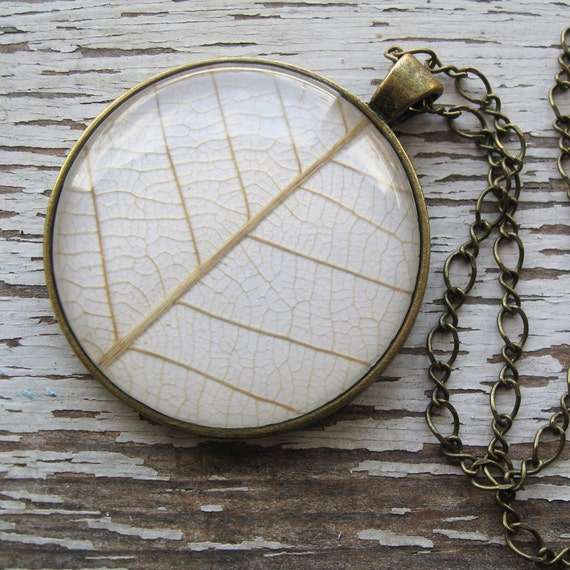 Real Leaf  Necklace - Winter White and Antique Brass Real Leaf Necklace