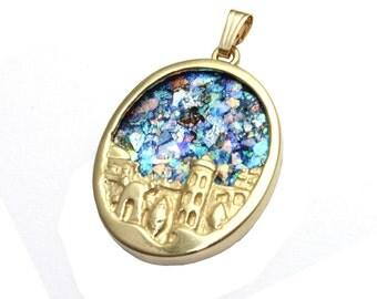 14k Gold 3D Roman Glass  Jerusalem Pendant Necklace