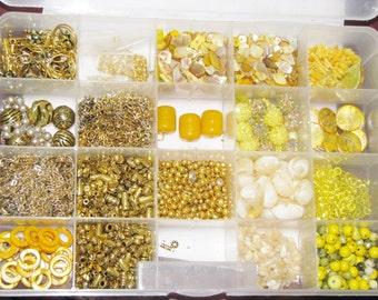 Bead Destash, Mixed bead lot, Gold Metal Beads, Gemstone beads