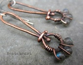 Sacred Sisters copper earrings labradorite  beads rustic boho copper work wire wrapped
