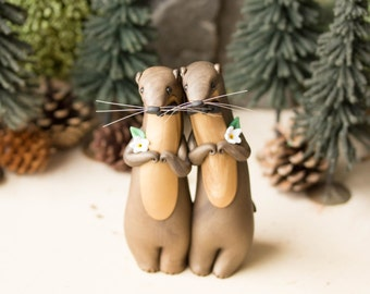River Otter Grooms - River Otter Wedding Cake Topper by Bonjour Poupette