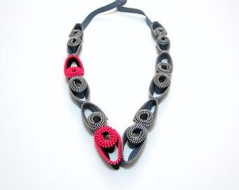 Zipper Grey Pink Metal Zippers Textile Handmade Designer Statement Necklace