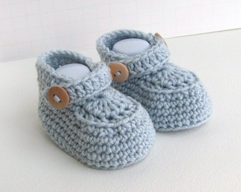 cashmere merino wool baby loafers handmade boys shoes hand knitted blue double button decorative strap announcment box size 0 to 6 months