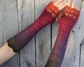 Magic Firebird - Extra Long Elegant Crochet Fingerless Gloves in deep purple, green, cherry red and orange
