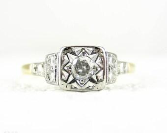 1940s Diamond Engagement Ring, Classic Round Brilliant Cut Diamond Solitaire Ring. Square Setting, Beaded Design, Gold & Palladium.