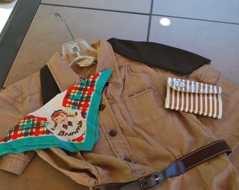 Vintage Circa 1950s-1960s Girl Scout Brownie Uniform with Accessories.
