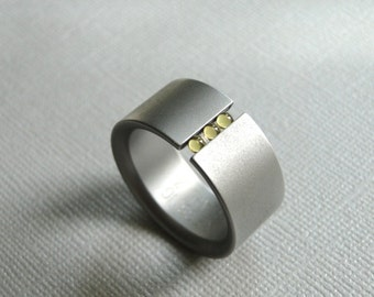 Vintage Men's Stainless Steel Abacus Ring / Floating Gemstones / Gift for Him / Wedding Band / Wedding Ring / Classy Men's Band
