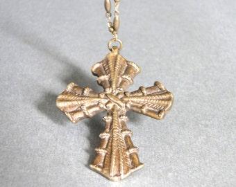 SALE Jewelry / Necklace / Ornate Cross / Pendant Necklace / Fancy Brass Link Chain / Statement Necklace / Vintage Bronze Repousse Cross