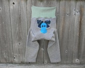 Upcycled Wool Longies Soaker Cover Diaper Cover With Added Doubler Seafoam Green / Gray With Moose Applique LARGE 12-24M  Kidsgogreen