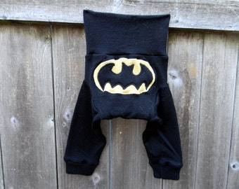 SMALL Upcycled Wool Longies Diaper Cover With Added Doubler Charcoal Gray/ Black With Batman Applique SMALL 3-6M Kidsgogreen