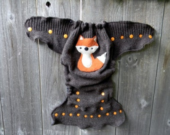 Upcycled Wool Nappy Cover Diaper Wrap Cloth Diaper Cover One Size Fits Most Brown With Fox Applique/ Light Brown & Black